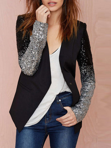 Bling Sleeve Relaxed Jacket - FIREVOGUE