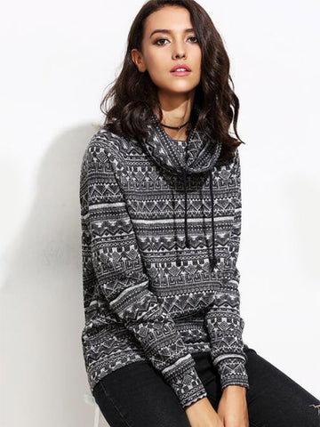Black Unique Pattern Sweatshirt