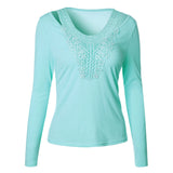 Splicing Lace Neck Pure Color Top - FIREVOGUE