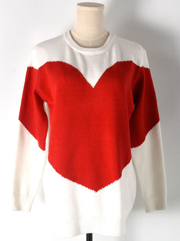 Bright Red Love Loose Sweater
