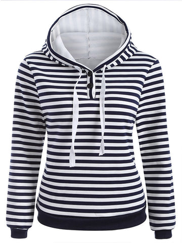Plus Velvet Thick Striped Hooded Sweater