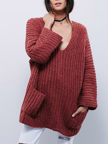 Deep V Neck Pocket Loose Sweater - FIREVOGUE