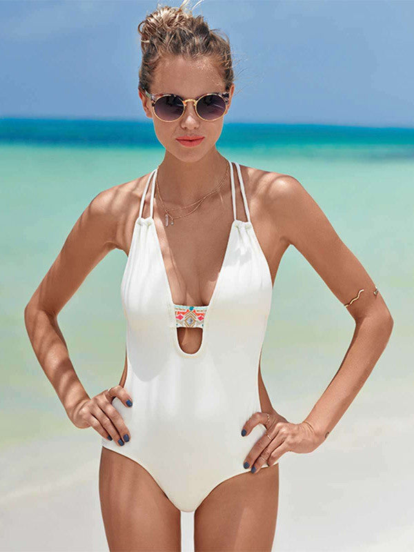 Back to Basics Cutout Halter Swimsuit - FIREVOGUE
