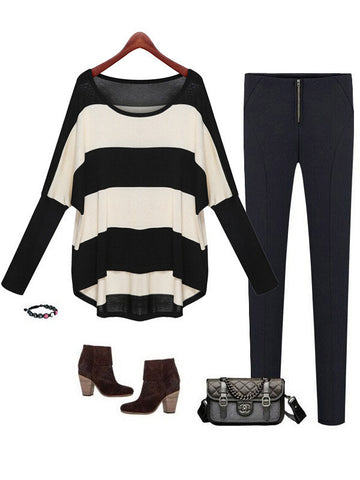 Striped Bell Sleeve Knitted Top
