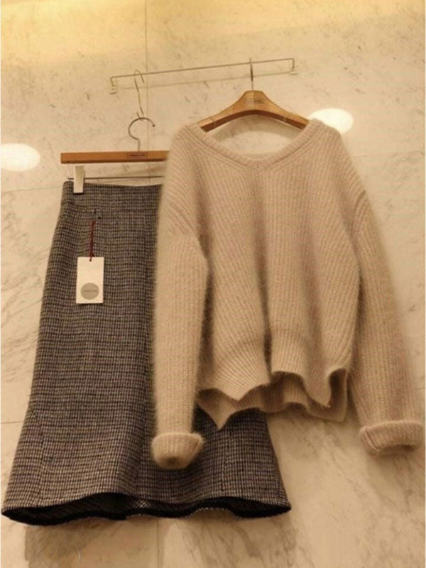 Ladies Must Have Two Pieces Set(Sweater&Skirt)