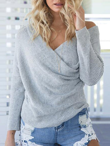 Gimme More Cold Shoulder Crossover Sweater