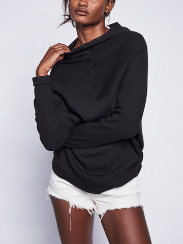 Black High Neck Casual Sweater
