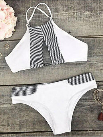 Hollow Out Front Striped Tank Bikini Set - WealFeel