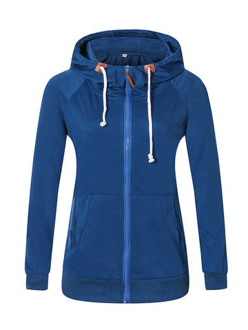 Blue Zip Hooded Sweatshirt