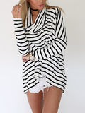 Oversize Cowl Neck Top in Stripe Print - FIREVOGUE