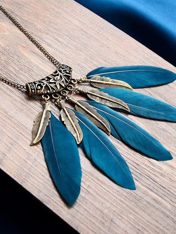Feather Shape Sweater Necklace - FIREVOGUE