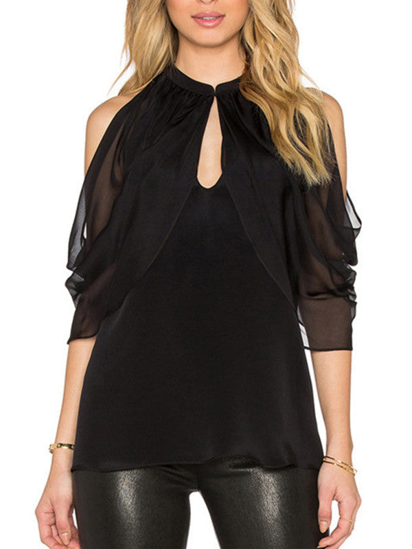 In All Bareness Cold Shoulder Top - FIREVOGUE