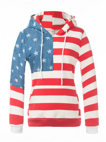 Striped Star Print Hooded Sweatshirt - FIREVOGUE