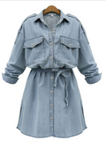 Take It Home Long-sleeve Waist Jeans Dress - WealFeel