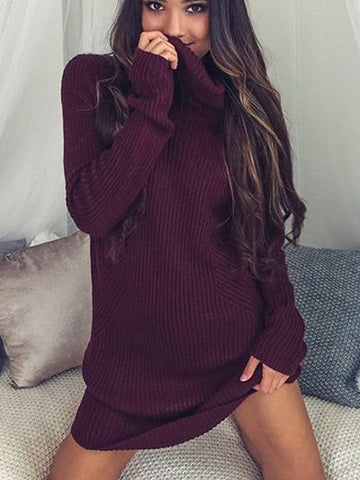 Turtle Neck Casual Sweater Dress - FIREVOGUE