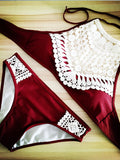 Black/Wine Red Lace Pattern Swimsuit - FIREVOGUE