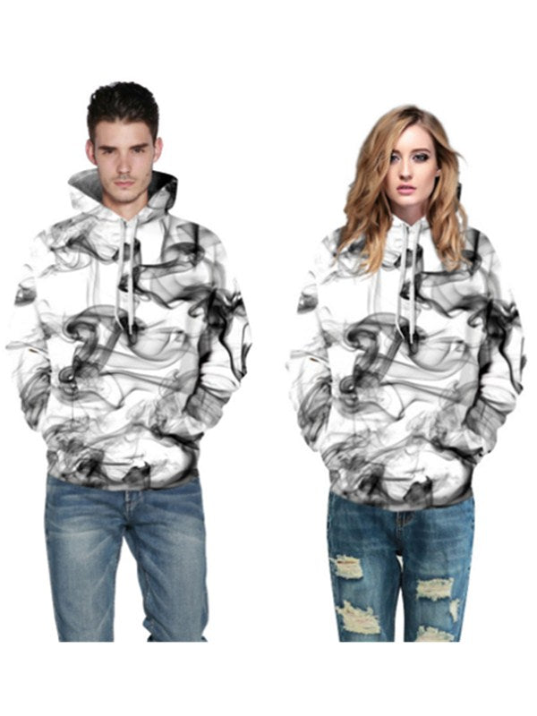 Art Of Love Smoke Style Print Couples Hoodie