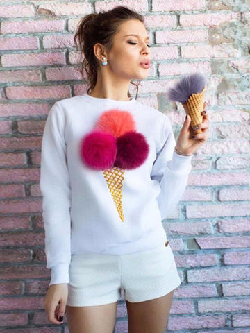 Multi Colored Fur Ice-cream Sweatshirt - FIREVOGUE