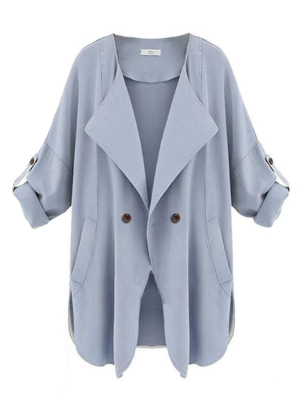 Mixed Messages Button Trench Coat - FIREVOGUE