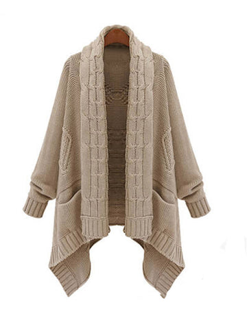 Open Front Asymmetric Sweater Outerwear - FIREVOGUE