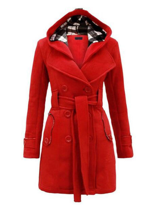 Check Inside Waist Belt Warm Coat - FIREVOGUE