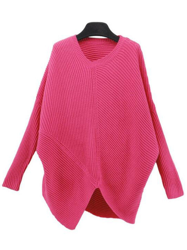 Solid  Dolman Sleeve Sweater - FIREVOGUE