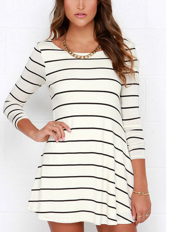 Striped Open Back Long Sleeved Dress - FIREVOGUE