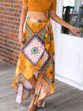 WealFeel Irregular Bohemian Printed Swallowtail Skirts - WealFeel