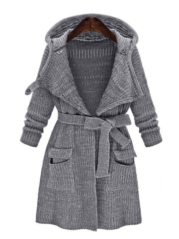 Open Front Knitted Trench Outerwear - FIREVOGUE