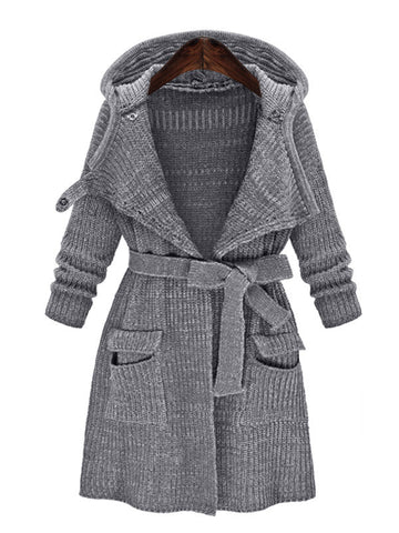 Open Front Knitted Trench Outerwear