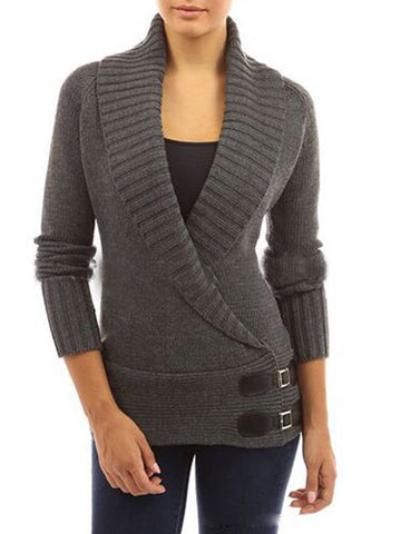 Grey and Black V Neck Sweater