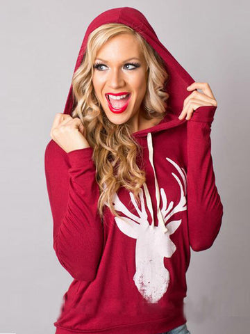 Christmas Hoodie Deer Print Sweatshirt - FIREVOGUE