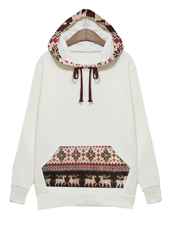 Deer Print Hooded Sweatshirt - FIREVOGUE