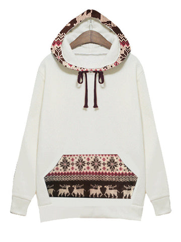 Deer Print Hooded Sweatshirt