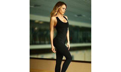 Tight Bandage Back One Piece Sports Jumpsuits - FIREVOGUE