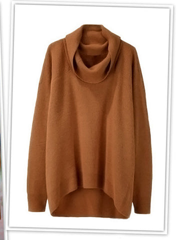 For the Neck of It Asymmetric Sweater - FIREVOGUE