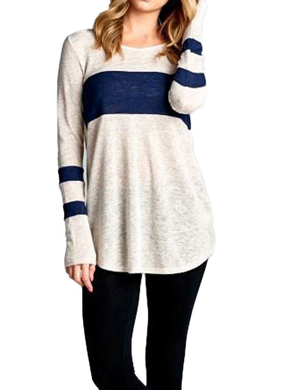 Striped Round Neck Relaxed Top - FIREVOGUE