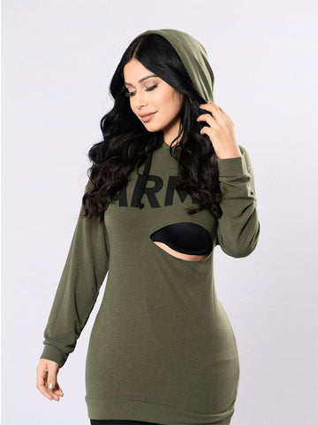 Sexy Sleeve Long Sleeve Hooded T-Shirt