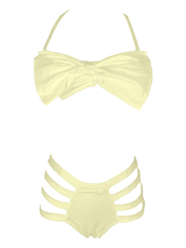 Dream of Summer Yellow Bowknot Bikini Sets - FIREVOGUE