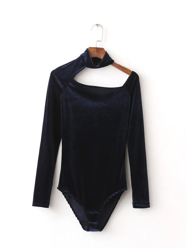 Navy Velvet Halter Long Sleeve Bodysuit - FIREVOGUE