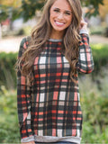 Black And Red Plaid Print Casual Top - FIREVOGUE