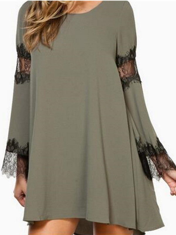 Let's Go Lace Bell Sleeve Dress - FIREVOGUE
