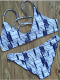 Blue Stripe Printed Cross Back Bikini Sets - WealFeel