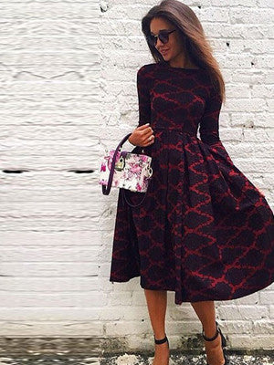 Long Sleeves Skater Dress in Diamond Print - FIREVOGUE