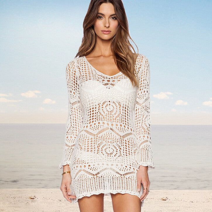 Sexy Hollow O-neck Pullover Long Sleeve Dress - FIREVOGUE