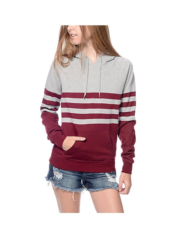 Red Striped Grey Hooded Sweatshirt