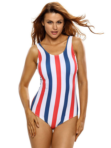 Color Back Girl Striped One-piece Swimsuit - FIREVOGUE