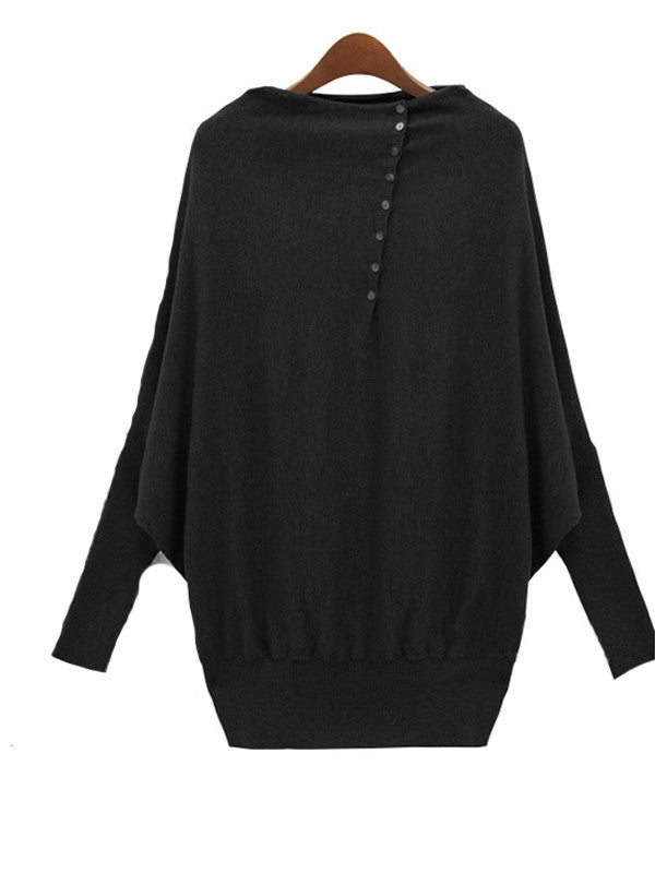 Batwing Sleeve Button Detail Top - FIREVOGUE