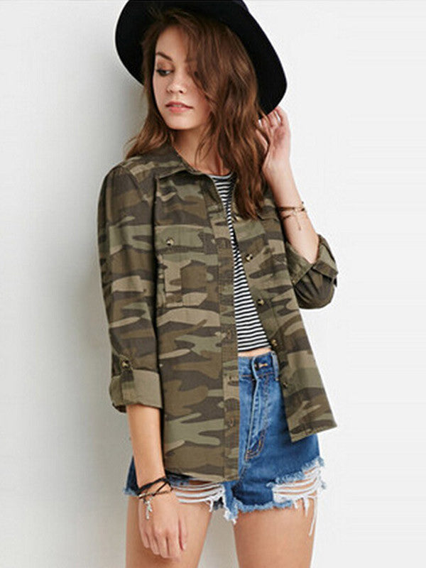 Green Camo Long Sleeve Blouse - FIREVOGUE