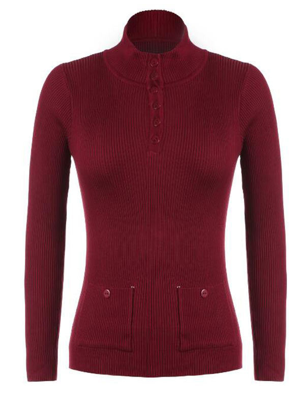 Button Point Knitted Top - FIREVOGUE